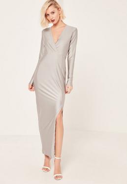 Grey Silky Plunge Maxi Dress