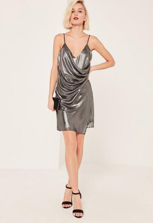 Silver Metallic Wrap Cami Dress