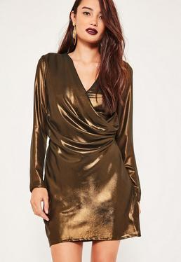 Metallic Wrap Long Sleeve Mini Dress