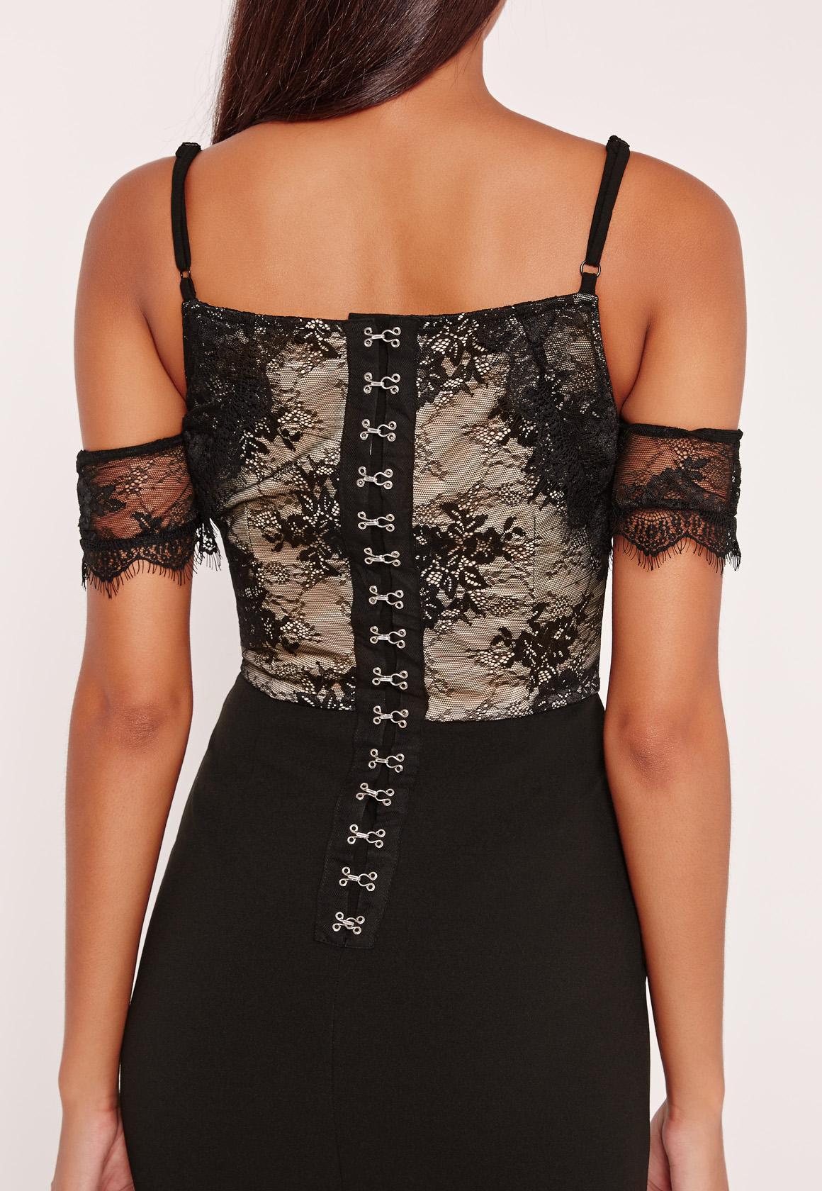 Lace Cold Shoulder Midi Dress Black