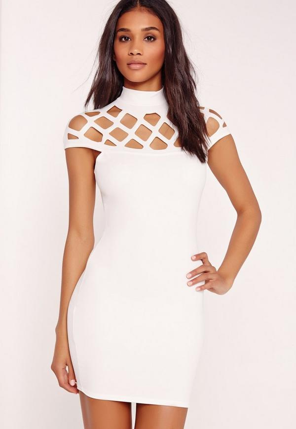 Laser Cut Cage Bodycon Dress White