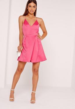 Satin strappy Wrap Over Skater Dress Pink