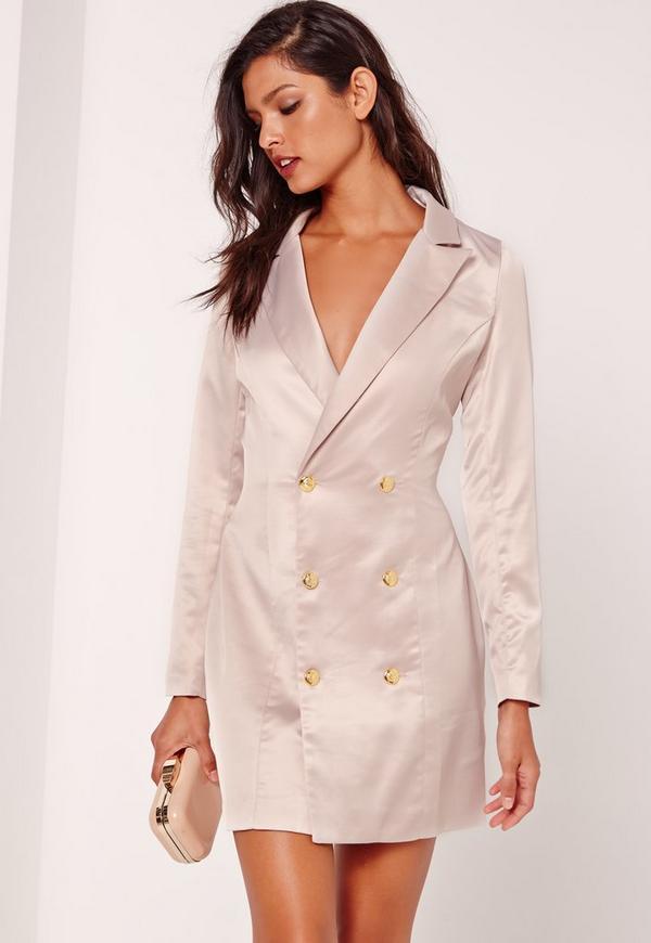 Satin Tux Dress Grey