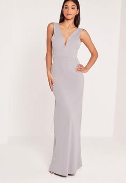 Grey V Plunge Maxi Dress