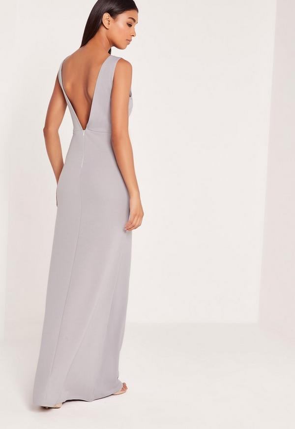 V Plunge Maxi Dress Grey Missguided