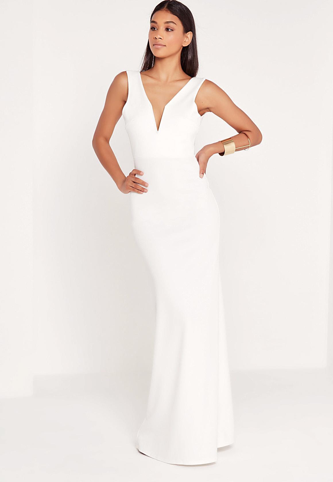 V Plunge Maxi Dress White