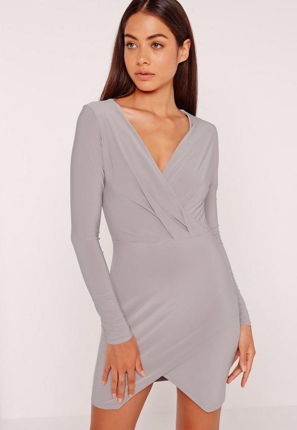 Slinky Wrap Plunge Bodycon Dress Ice Grey
