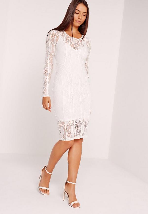 Lace Long Sleeve Binded Midi Dress White