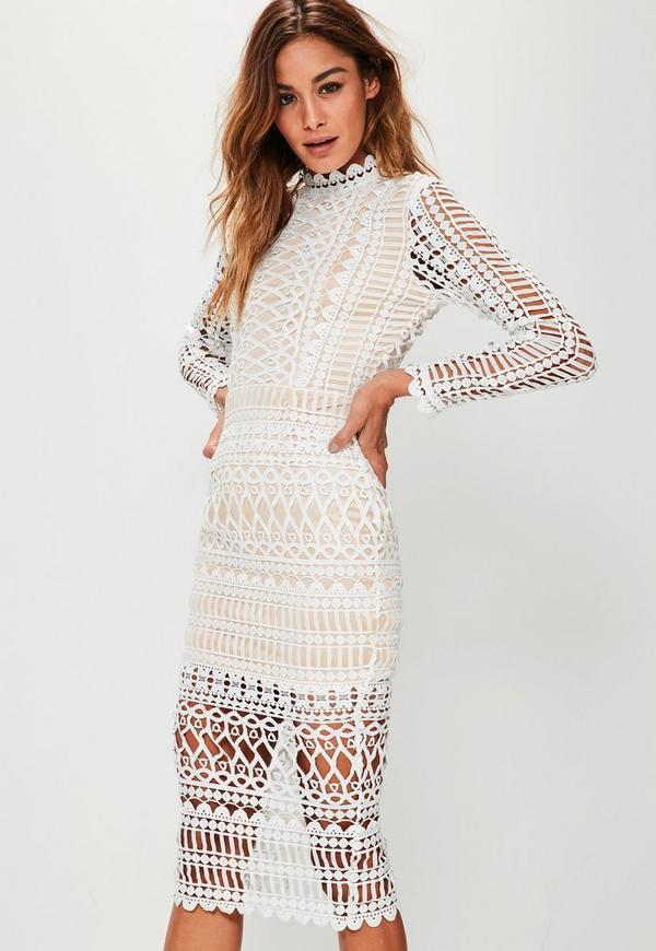High Neck Structured Lace Midi Dress White