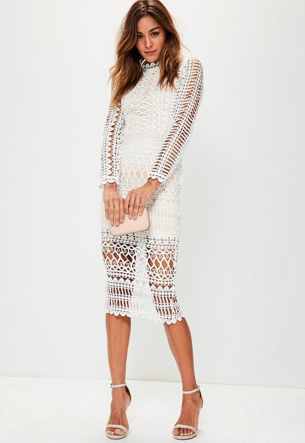 high neck structured lace midi dress white missguided