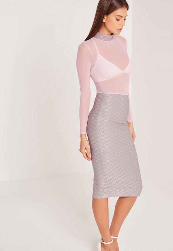 Mesh Top Grid Midi Dress Purple