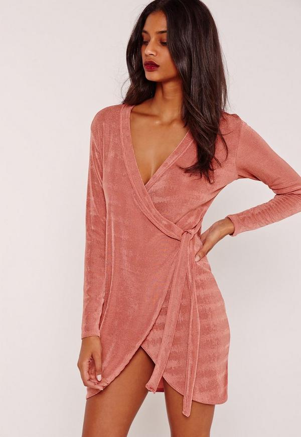 Knot Side Slinky Dress Pink