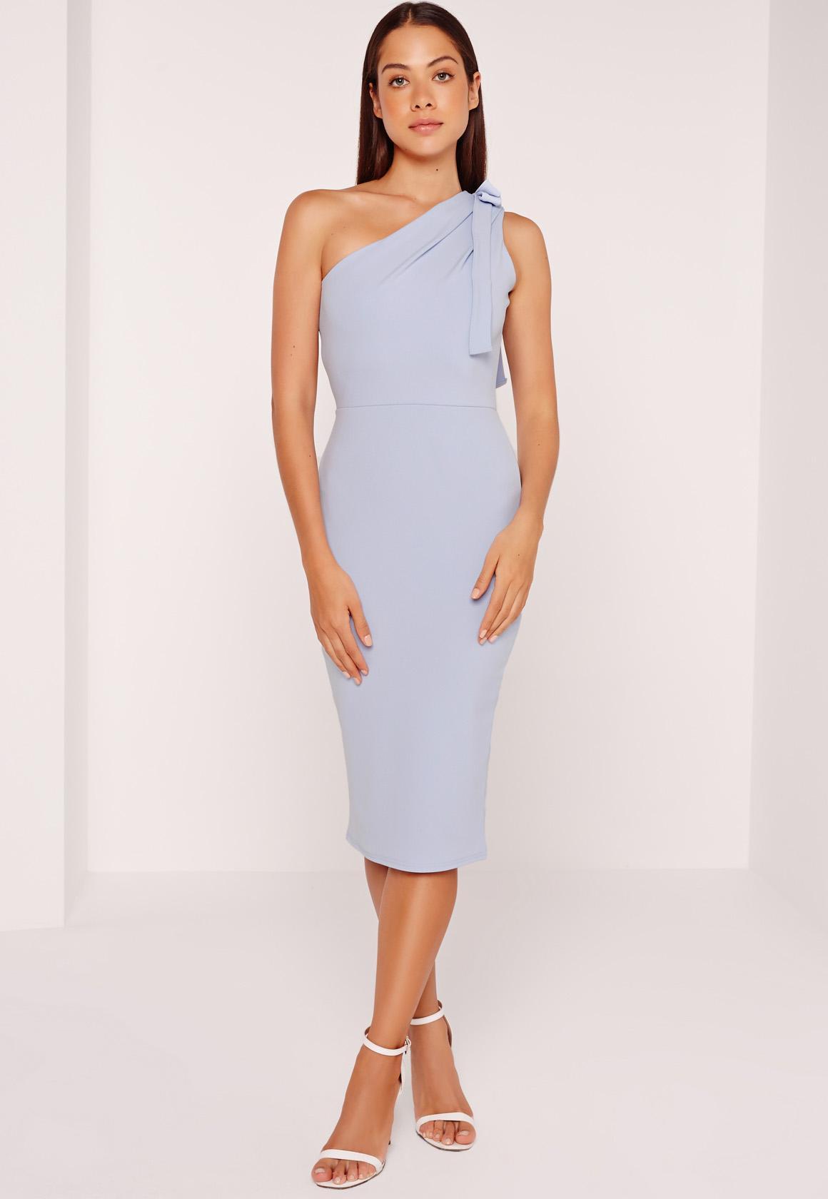 One Shoulder Bodycon Midi Dress Powder Blue