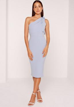 One Shoulder Bodycon Midi Dress Powder Blue