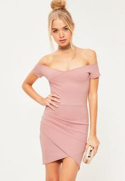 Wrap Bardot Bodycon Dress Pink