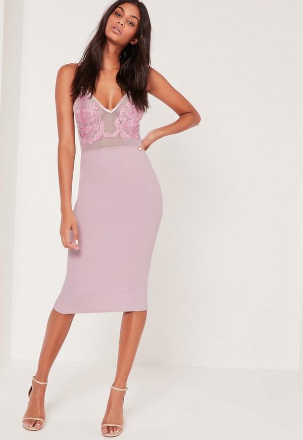 Applique Mesh Strappy Midi Dress Lilac