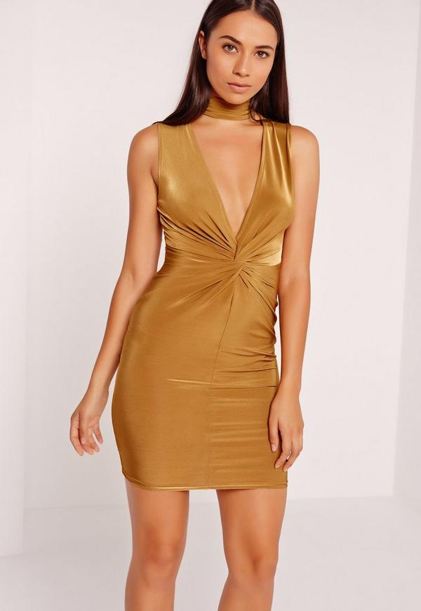 Twist Front Plunge Bodycon Dress Gold