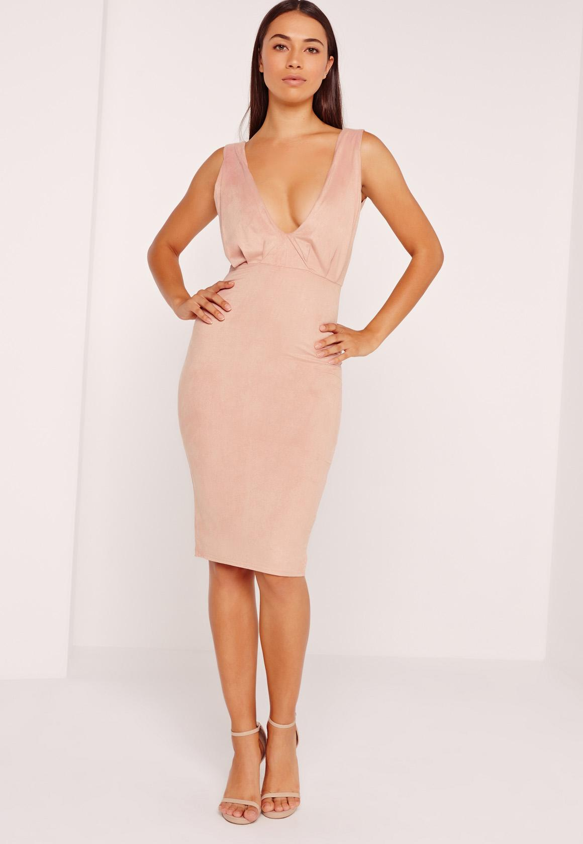 Faux Suede Plunge Midi Dress Pink