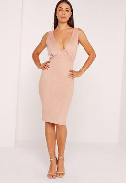 Faux Suede Plunge Midi Dress Pink