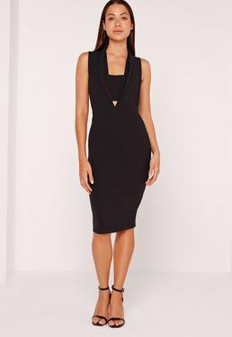 Collared Bandeau Plunge Insert Midi Dress Black