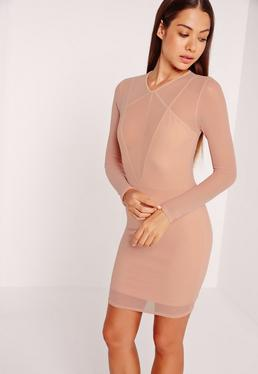 Long Sleeve Mesh Overlay Harness Dress Nude