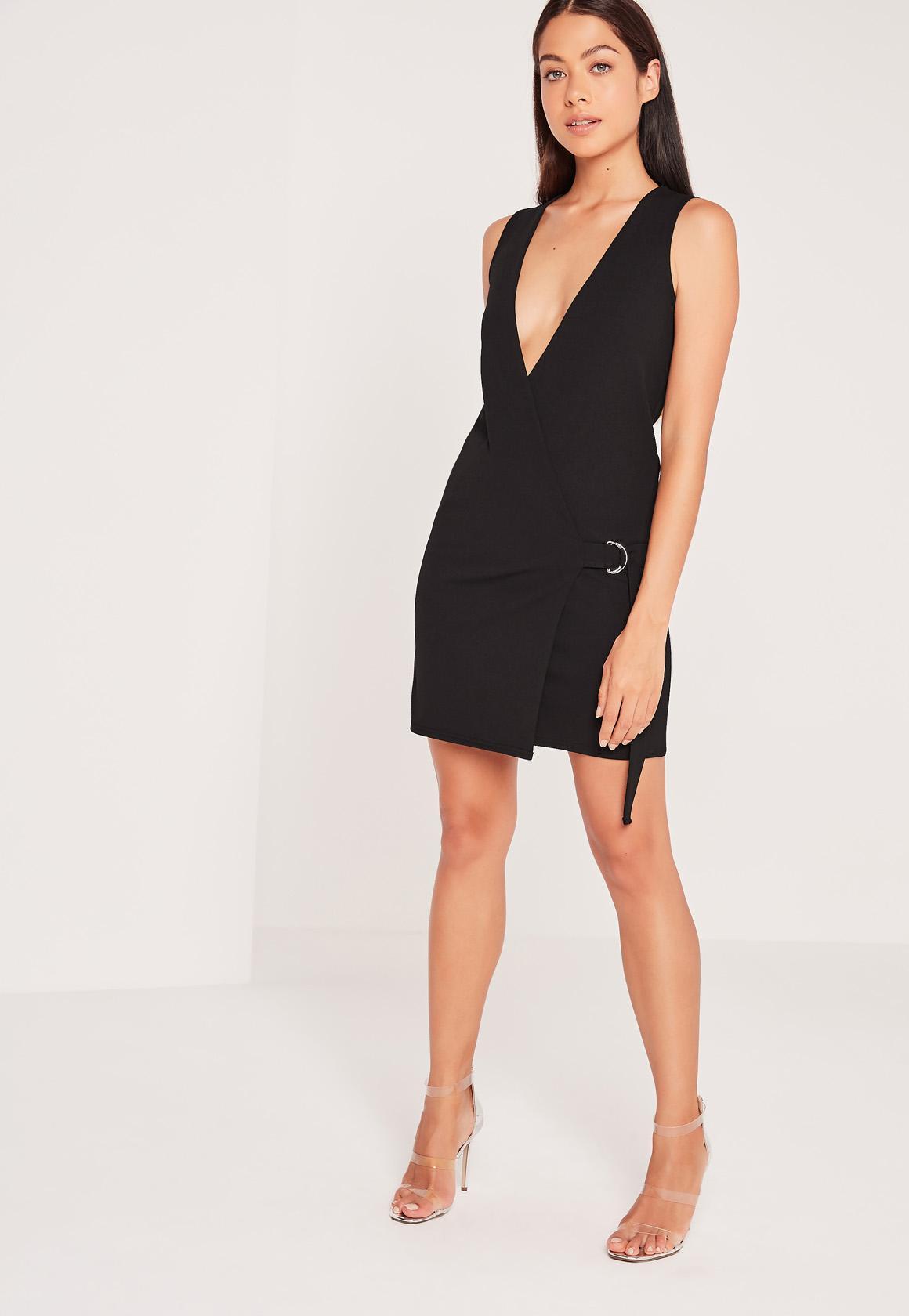 Sleeveless Wrap Tuxedo Dress Black | Missguided