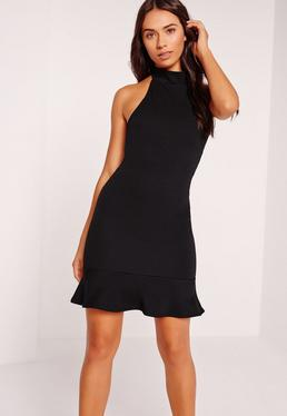Fishtail Hem Halterneck Bodycon Dress Black