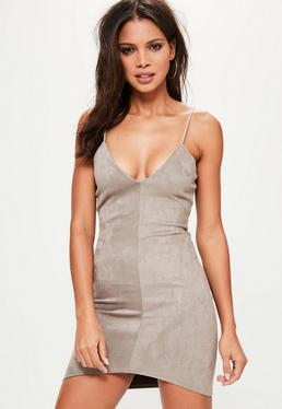 Grey Bonded Faux Suede Strappy Bodycon Dress