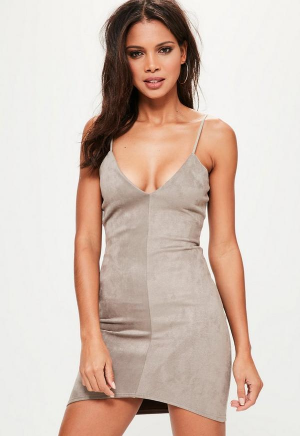 Grey Bonded Faux Suede Strappy Bodycon Dress