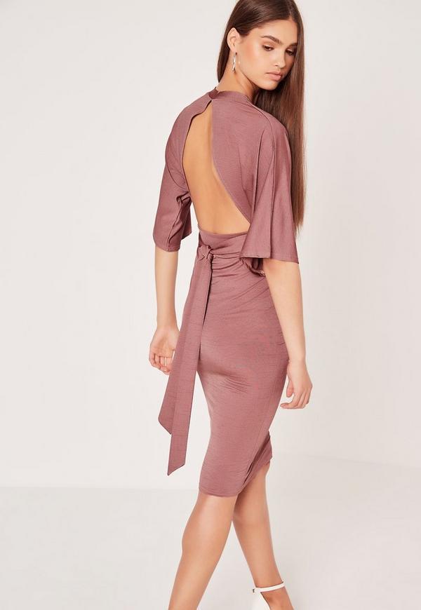 Kimono Sleeve Open Back Midi Dress Pink
