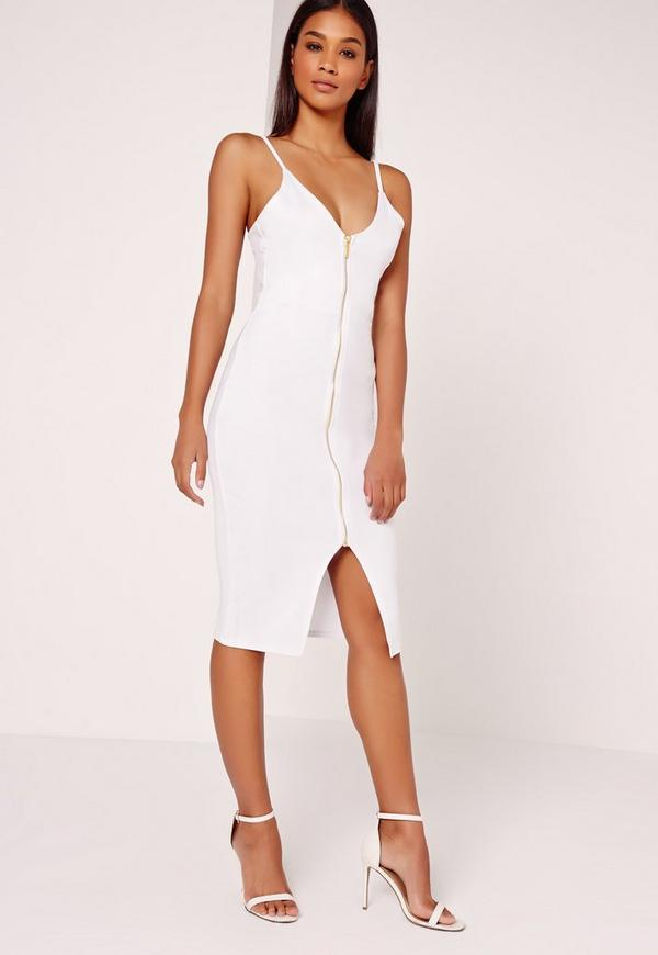 Zip Front Scuba Bodycon Dress White