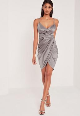 Carli Bybel Silky Wrap Over Mini Dress Grey