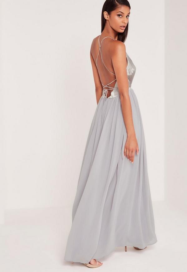 Carli Bybel Pleated Silky Maxi Dress Grey