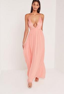 Carli Bybel Pleated Silky Maxi Dress Pink