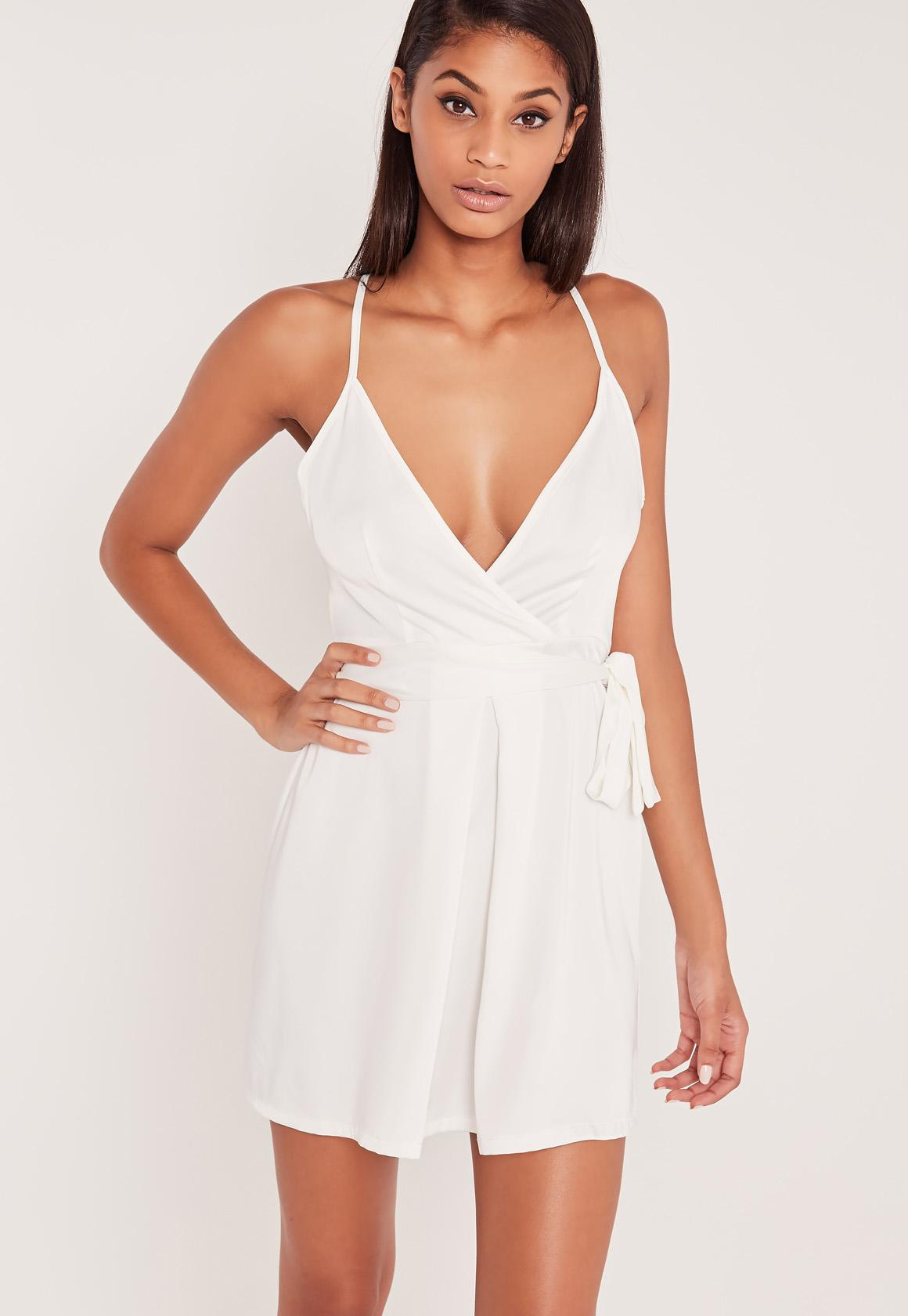 Carli Bybel Silky Belted Wrap Cami Dress White | Missguided