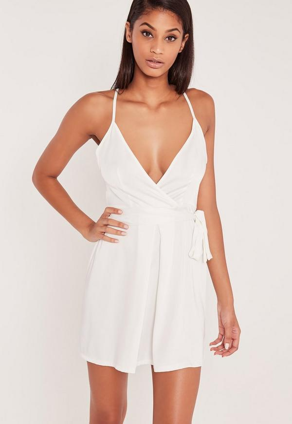 Carli Bybel Silky Belted Wrap Cami Dress White