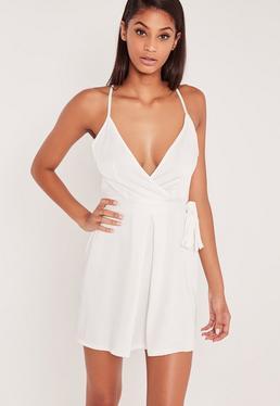 Robe portefeuille soyeuse blanche Carli Bybel