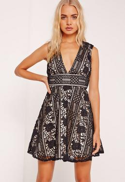 Lace Plunge Skater Dress Black
