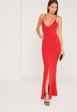 Split Front Strappy Fishtail Maxi Dress Red