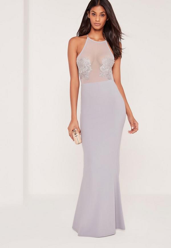 Applique Flower Mesh Maxi Dress Grey