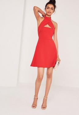 Wrap Halter Neck Skater Dress Red