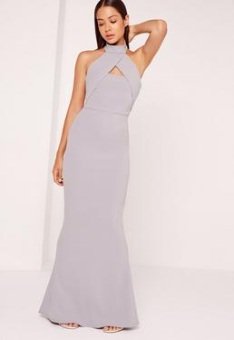 Wrap Halter Maxi Dress Ice Grey
