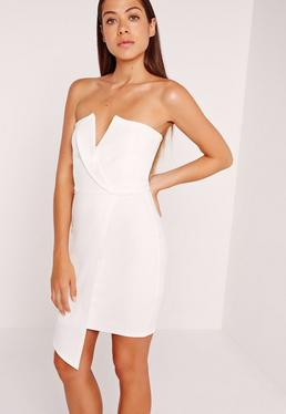 Wrap V Bandeau Dress White