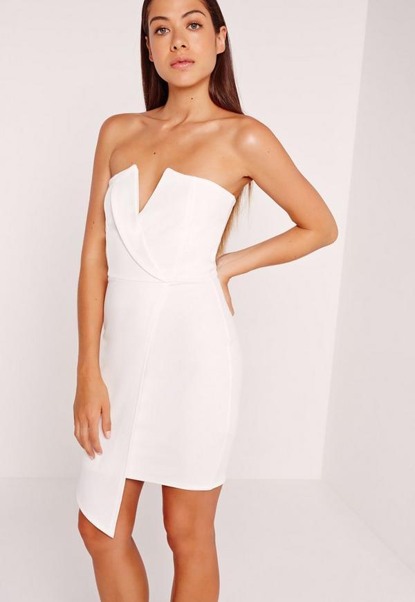 Wrap V Bandeau Dress White
