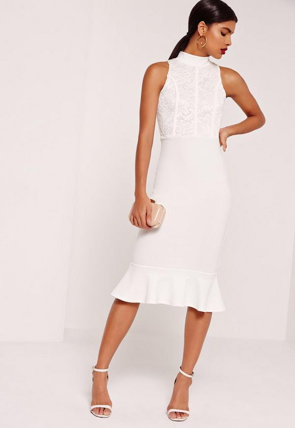 Lace Top Fishtail Midi Dress White