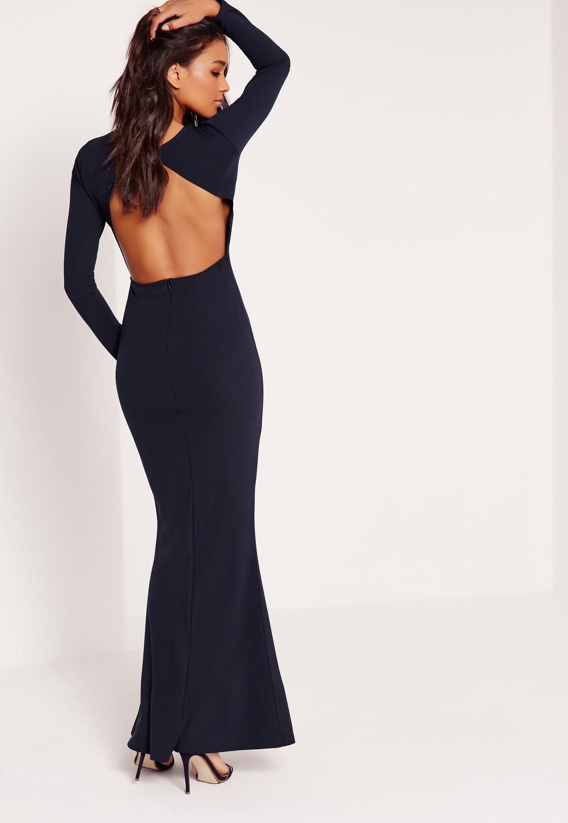 Long Sleeve Open Back Maxi Dress Navy | Missguided