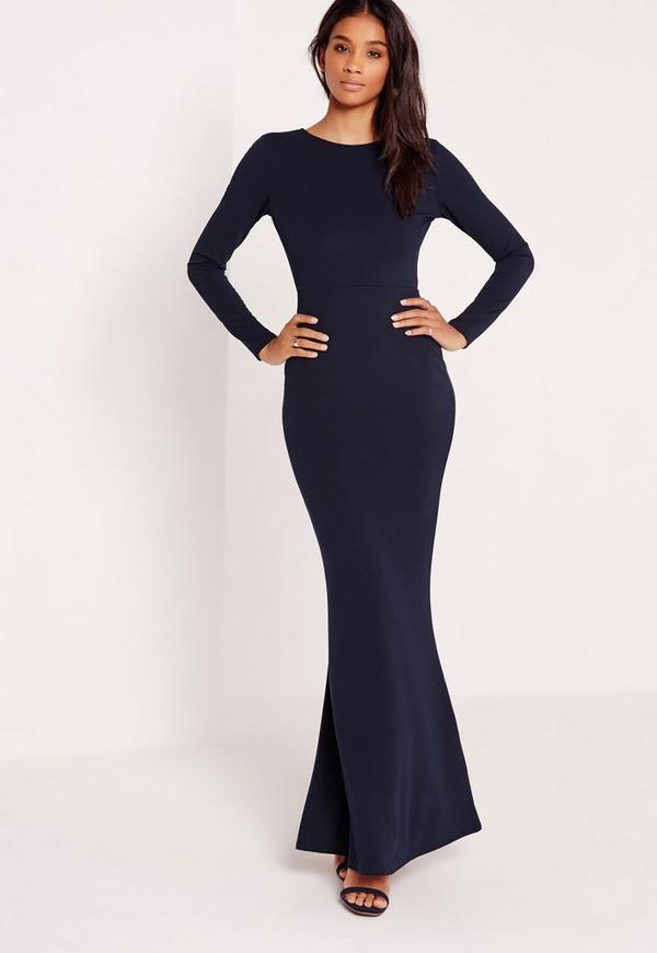 long sleeve open back maxi dress navy - missguided