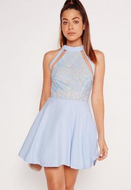 Mesh Stripe Lace Top Skater Dress Powder Blue