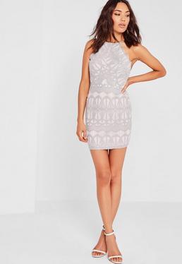 Szara koronkowa dopasowana sukienka na ramiączkach