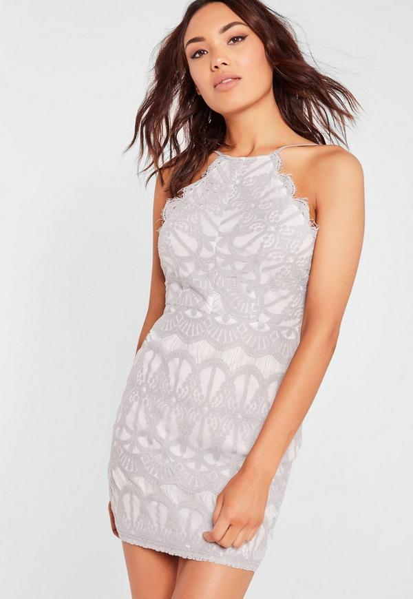 Lace Strappy Bodycon Dress Gray Missguided